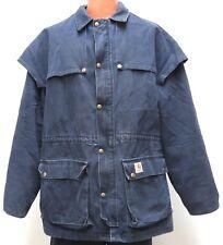 vtg Carhartt NAVY DUSTER COAT XL Blanket Lined CB043 duck 90s usa midnight blue