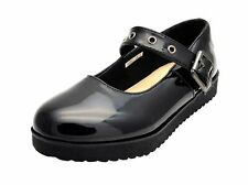 Girls Chatterbox Black Patent School Shoes