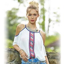Fashion Women Lady Loose Short Sleeve Chiffon Casual Blouse Shirt Tops Blouse