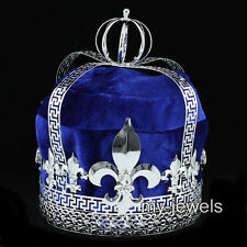 "Men's Blue Velvet Imperial Medieval Fleur De Lis 7"" King Crown AT1727"