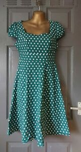 Size 8 DOLLY AND DOTTY Vintage Wartime Style Polkadot Tea Dress Fit N Flare