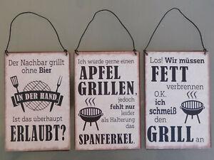 Schild, Metallschild mit Spruch, Thema Grillen, 3 Modelle zur Auswahl, Vintage