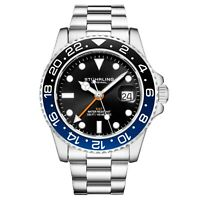 Stuhrling Aqua-Diver 3965 Swiss Quartz Men's Silver Bracelet Black Dial Watch