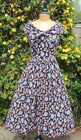 Vintage LAURA ASHLEY 1950's Style Black Floral Occasion Summer Dress - UK 8/10