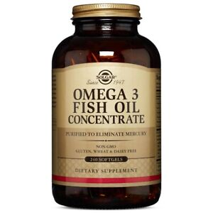 Solgar Omega-3 Fish Oil Concentrate 240 Softgels Made In USA, FREE US SHIPPING