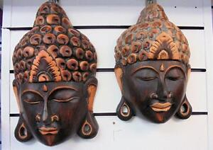 WOODEN THAI BUDDHA WALL HANGING MASKS  30 CM AND 25CM HIGH FREE POSTAGE HANDMADE