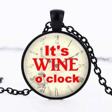 It's WINE o'clock photo dome Black Cabochon Glass Pendant Necklace-18 Inch Chain