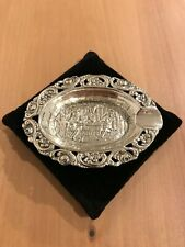 More details for antique solid silver 830 villige card game scene ash tray made by