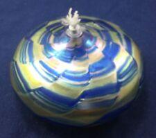 "Modern Oil Lamp Fairy Lamp Blue and Gold Irridescent Swirl 6"" Diameter"