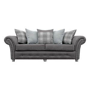 FRANK Scatter-Back Faux Suede Grey 3 Seater Sofa BRAND NEW. CLEARANCE C211