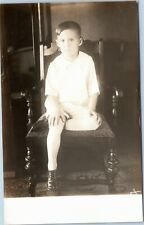 rppc Boy sitting in chair with leg crossed under 1926-40s AZO