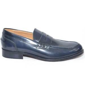 Scarpe uomo mocassino classico blu abrasivato fondo cuoio antiscivolo made in it