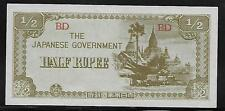Burma Japanese Invasion Money 1/2 Rupee 1940's WWII BD Block