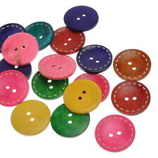 20PCs Wooden Buttons 2 Holes Round Mixed Colors 40mmx40mm