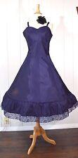 VTG 50s 60s VAL MODE Blue Acetate Taffeta Full Skirt Lace Trim Dress Slip 36 M