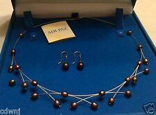 """ADI PAZ CHOCOLATE CULTURED FRESHWATER PEARL 19"""" NECKLACE & DROP EARRING SET~14K"""