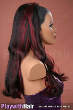 Waved 3/4 Wig Hair Piece Extensions Black Red Burgundy