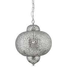 Searchlight 9221-1SS Moroccan Shiny Nickel Pendant Light With Patterned Finish