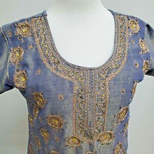 Pakistani / Indian Women's  Kurti Size Medium Blue Peach/Pink Embroidered