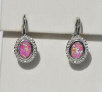 Echt 925 Sterling Silber Ohrringe synth Opal rosa Oval Geschenk Hochzeit  Nr 422