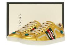 NEW GUCCI LADIES ACE METALLIC GOLD JEWELED WEB SNEAKERS SHOES 39 G/US 9.5