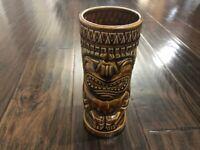 "Aloha Showroom Waikiki Brown Tiki Mug Glass Crack 7.5"" Hawaiian"