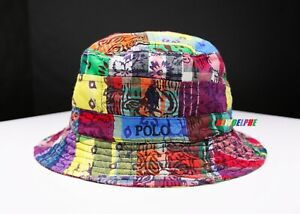 """NWT POLO RALPH LAUREN PONY BEACHSIDE BUCKET HAT """"QUILTED PATCHWORK EDITION"""""""