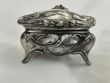 More details for antique, decorative floral pewter trinket box by w.b. mfg.co. no.321, @ 1910