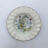 """Carrigdhoun Pottery Co-Op Cork Ireland Map Plate  Butter, Pin, Trinket Dish 5"""""""