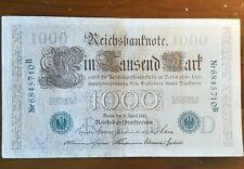 German 1000 Reichsbanfnote 1910 , lot of five, green stamp. good condition