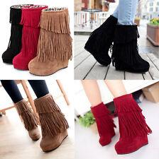 Womens Hidden Wedge Platform Fringe Tassel Pull On Fur Inside Ankle Boots Shoes