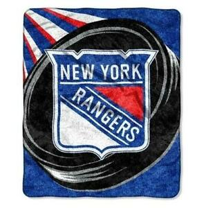 Official NHL New York Rangers Puck Blanket Sherpa Throw 50x60 FAST SHIP! T30