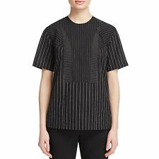 4345 Donna Karan Womens DKNY Satin Striped Blouse Black, Size S Small $335.00