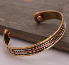 Unisex Magnetic Bio Therapy Cuff Tibetan Pain Relief Bangle Copper Bracelet