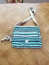 Kipling Alvar Spectacle Stripe Navy Blue Teal Turquoise Crossbody Handbag