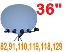 "36"" SUPER SATELLITE DISH 82-91-97-110-118-119-129 HD 1000 118.8 LNB ELLIPTICAL"