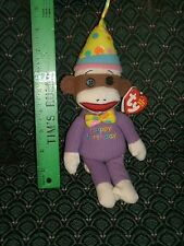 "Ty Beanie ~ SOCK MONKEY ~ HAPPY BIRTHDAY ~ 9"" tall ~ MWMT~ 2013 ~ Retired ~ HTF"