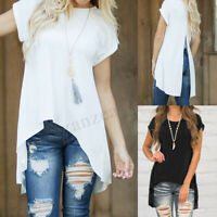 Women Summer Short Sleeve Irregular Split Loose Solid Casual Tops Shirt Blouse