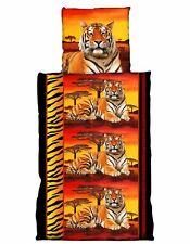 4 teilige Bettwäsche 135 x 200 cm Tiger rot gelb Mikrofaser Garnitur Set