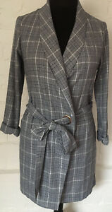 Pretty Little Thing Rap Over Coat Size 12 Check Gray/belt & Button Fasten