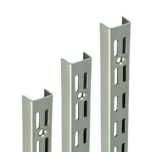 Shelf UPRIGHTS for Shelving System Twin Slot Adjustable Support Matt SILVER