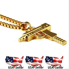 Supreme Uzi Necklace Machine Gun Gold Filled 18KT Pendant Chain Box Logo