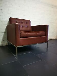 Vintage Florence Knoll Style Brown Leather Armchair