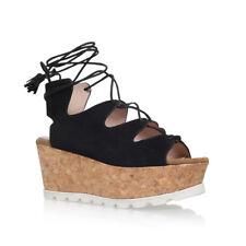 Carvela Black Suede Platform Sandals Size 4 BNIB Kooper Peep Toe RRP £99.99