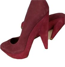 SCHUTZ Women Maroon Nubuck Suede Leather High Heel Court Shoes UK 4 Platform