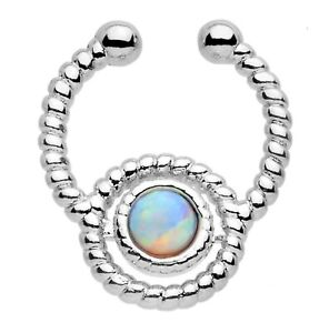 Opal Clip On Septum Cuff Nose Ring White AB 16g (1.2mm) Septum Body Jewellery