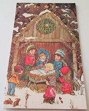 Used Vtg Christmas Card Kids, Lamb, Deer & Bunnies Gathered Around Baby Jesus