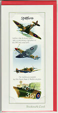 RAF Spitfire Gift card with detachable bookmark  avation blank greeting card