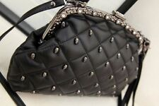 Rivet Punk Skull Head PU Leather Diamond Shoulder Bag Studs Woman Evenin Clutch