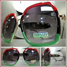OVERSIZED VINTAGE Designer RETRO Style SUN GLASSES Hexagon Red Black Green Frame